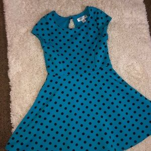Blue and polka dot dress